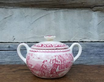 Homer Laughlin- Currier and Ives Red- Sugar Bowl- Birthplace of Washington- Franklin's Experiment- Vintage White/Red China- Americana