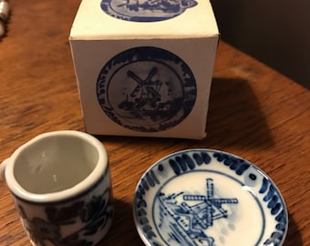 Miniature Delft Blue Cup and Saucer