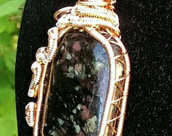 Wire Wrapped Eudialyte and Copper Necklace (Snake)