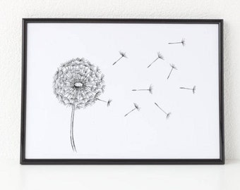 Dandelion, Black and White Print, Nature Print