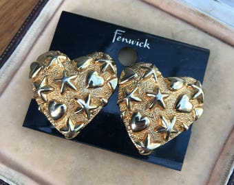 Fab Vintage Retro Jewellery Heart and Star Design Gold Tone Ear Clip Earrings by Anne Chez 1980s 90s