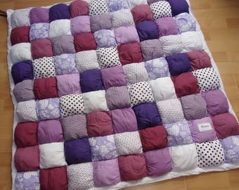 Baby girl in purple and white play mat - 100x100cm