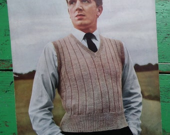 Vintage 1940s Knitting Pattern Mens Sleeveless Pullover Vest Slipover Ribbed Design 40s original pattern Don Maid UK No. 225