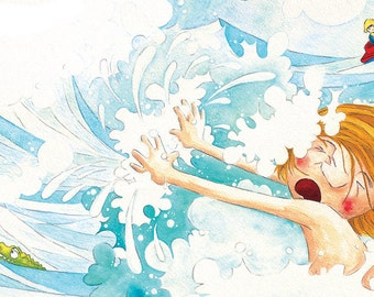 Pas le bain! - ILLUSTRATION ORIGINALE -