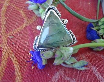 Prehnite w/ Epidote Sterling Silver Ring