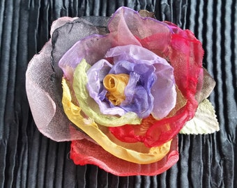 Organza Multi-Color Rose Flower Brooch Pin Hair Clip Handmade with Muted Light Green Leaf