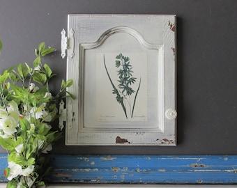cabinet front- Vintage White A -farmhouse style - architectural salvage - vintage wood trim - chippy paint