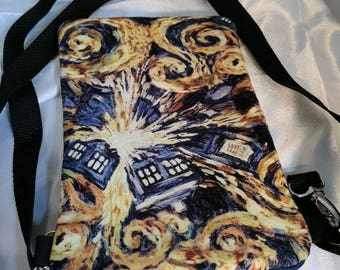 Dr. Who Starry Night Crossbody Bag, adjustable strap