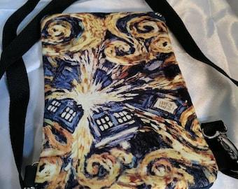 Dr. Who Starry Night Crossbody Bag, adjustable strap