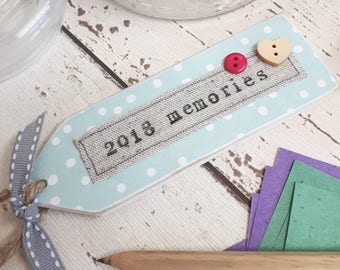 Memory jar tag, happy memories jar personalised tag, making memories, 2018 memory jar tag