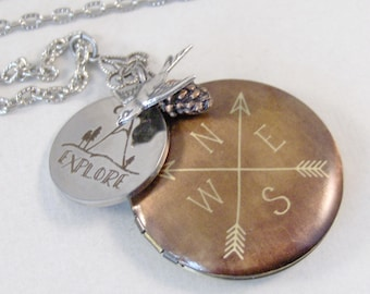 Explorer,Compass Locket,Explorer Jewelry,Bird Necklace,Arrow Necklace,Pinecone,Outdoors,Woods,Woodland,Woodland,Nature,valleygirldesign