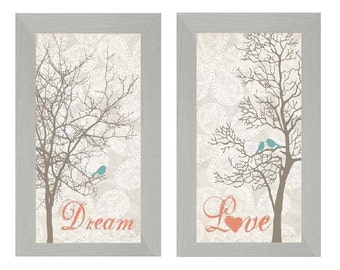 Set Love and Dream Bird Trees Coral Aqua Decor Print Art Framed Picture 10x16""