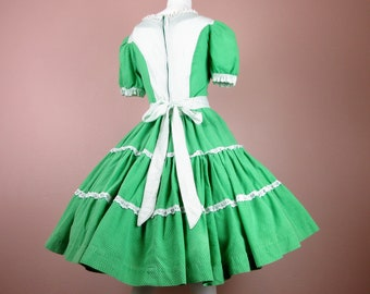 Vintage 1950s - 1960s Square Dance Dress, Home Sewn / Festival / Cowgirl Country Western / Green White Cotton / Circle Skirt /Sz M, L