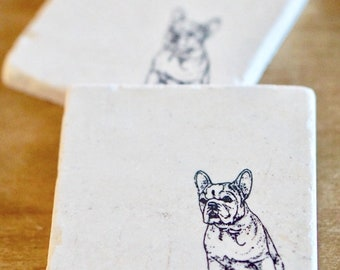 French Bulldog Marble Coasters/ Frenchie/ French Bulldog/ Marble Coasters/ Stone Coasters/ Tile coasters/ drink coasters/ dog coasters