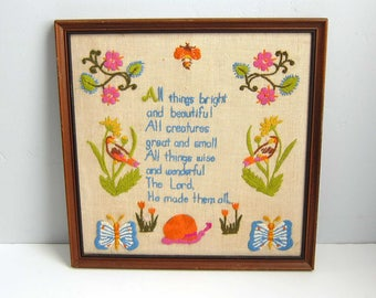 Vintage Framed All Things Bright And Beautiful Crewel Embroidery Flowers Birds and Bee Framed Wall Art