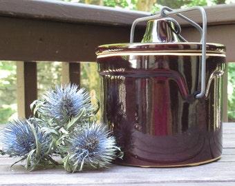 Stoneware Crock with Lid, Cheese Crock, Vintage Kitchen Storage, Farmhouse Kitchen, Rustic Decor