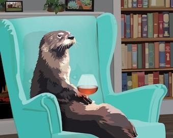 Otter Wall Art. Otter Art Print. Otter animal print. Unique gift for him. Cute otter art print. Otter gift. Funny art print. Otter print.