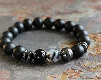 Mens Bracelet Black Onyx Bracelet Mens Gift for Him Boyfriend Bracelet Husband Gift for Father Gift Brother Gift Boyfriend Gift Son Gift
