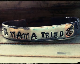 """Mama Tried - Hand Stamped Cuff Bracelet- Hammered Edges//Paisley//Stars//Arrows - 3/8"""" x 6"""" 1100 Aluminum//Non Tarnish//Hypoallergenic -Gift"""