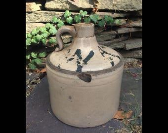 Pre Prohibition Whiskey Moonshine Tan Stoneware Jug w Handle W A S Old Vintage Antique 1890's Unique Bathtub Gin Bottle