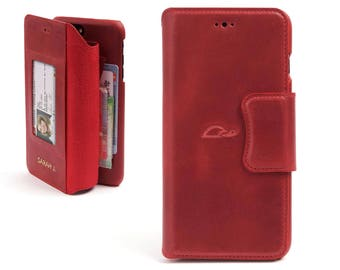 iPhone 8 Leather Case - iPhone 8 Wallet Case - iPhone 8 Vintage Leather Case - Flip Case - Card slots - Stand - RED