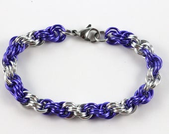 Spiral Chainmaille Bracelet | Hand Crafted Chainmaille Jewelry | Handmade Bracelet | Purple and Silver | Anodized Aluminum
