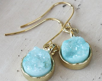 Pale Aqua Blue Druzy Earrings, gold plated earrings, druzy jewelry, blue earrings, quartz druzy, gemstone earrings