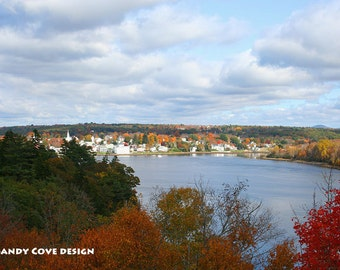 Bird's Eye View of Bucksport, Maine in the Fall, Seascape, Cove, Foliage, Fine Art, Wall Art