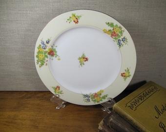 Vintage Porcelain Dessert Plate - Pale Yellow Band - Floral Bouquets - Gold Accent