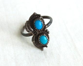 Boho Turquoise Ring Size 6 .75 Southwestern Jewelry Vintage Western Ring Turquoise Duo SALE