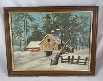 Winter Farm House Country Landscape Painting Paint By Number PBN Wall Decor Vintage