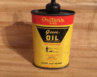 Vintage Outers 445 Gun Oil Lubricant metal can, industrial, retro, man cave, rustic, farmhouse, tin can, collectible gun oil