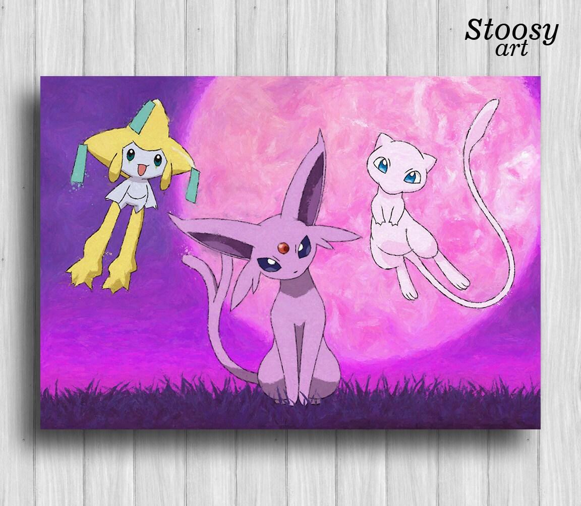 espeon pokemon art poster jirachi mew pokemon birthday decor