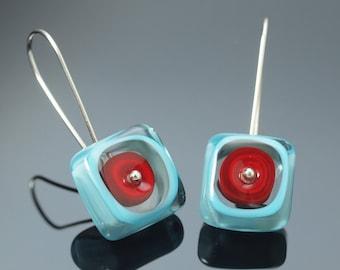 Long Dangle Earrings - Square Earrings, Turquoise Earrings, Red, Multi color earrings, Unique Earrings, Lampwork, Valentine's Gift, Handmade