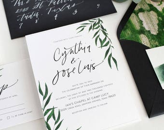 The Greenery Wedding Invitation Suite, Modern Wedding Invitation Suite, Printable Wedding Invitation, Semi-Custom Wedding Invitation