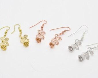 Rose Earrings, Flower Earrings, Wedding Earrings, Floral Earrings, Rose Jewelry, Bridesmaid Earrings, Roses, Earrings, Silver Rose, Rose