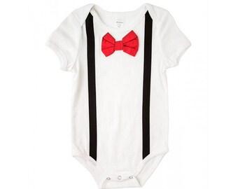 Black Suspenders, Red Bow Tie Onesie