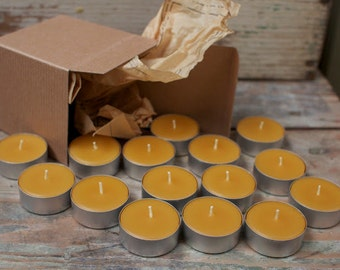 Beeswax Tea Lights - Box Set - 16 Candles ; ) NON-Parrifin Dipped & NON-metal cored Wicks