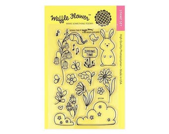 Waffle Flower SPRING TIME 4x6 - Set of 18 CLEAR Photopolymer stamps Bunnny Bird Flowers #271154