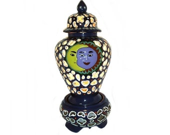 Talavera Mexico Reticulated Lamp Ginger Jar/Tibor Red Clay Folk Art