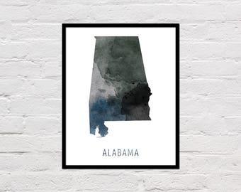 Alabama Map Print, Printable Alabama State Map, Alabama Art Print, Alabama Wall Art, Watercolor Map, Alabama Poster, Digital Download