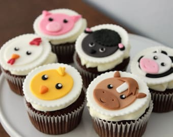 12 Edible Farm animals fondant cupcake toppers. barnyard party. barn animals. baby shower. party supplies. party decor. party favors.