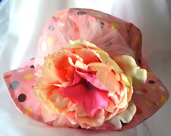 Baby sun hat, sun hat, floppy sun hat, floppy hat, big flower hat , flower girl hat, photo prop hat, hat with strap, baby hat with strap
