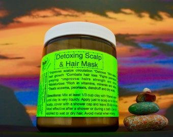 Organic Detoxifying Hair and Scalp Mask- 9oz/ Fights hair loss/ Strengthens hair, nourishes, moisturizes.