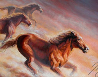 "Wild Horses Painting ""Born Free"" - Fine Art Print"