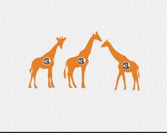 giraffe monogram frame svg dxf file instant download silhouette cameo cricut downloads clip art commercial use