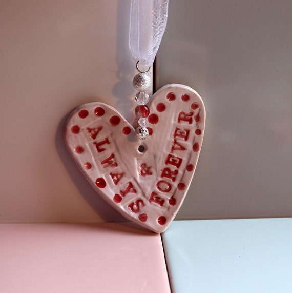 Always and Forever Heart, Anniversary, Wedding Day, Hand Painted & Decorated Ceramic Heart, Engagement, Celebration, Congratulations.