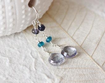 Blue Quartz Earrings, Iolite, Apatite, Blue Gemstone Earrings, Argentium Sterling Silver - Selene