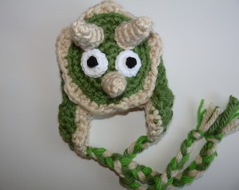 Baby Dinosaur hat with earflaps and tassels tricerotops