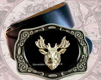 Stag Belt Buckle Inlaid in Hand Painted Glossy Black Onyx Enamel Antique Silver Deer Head Metal Buckle with Color Options